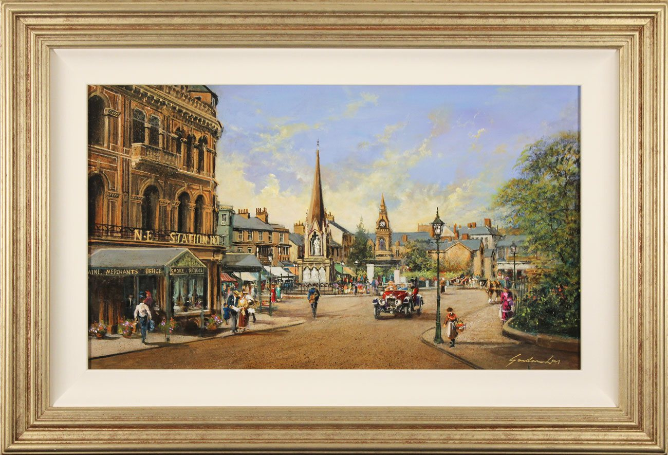 Gordon Lees, Original oil painting on panel, Old Station Square, Harrogate. Click to enlarge