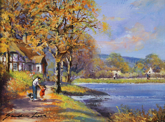 Gordon Lees, Original oil painting on panel, Autumn Lake No frame image. Click to enlarge