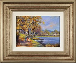 Gordon Lees, Original oil painting on panel, Autumn Lake Large image. Click to enlarge
