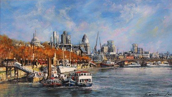 Gordon Lees, Original oil painting on panel, Thames Embankment, London