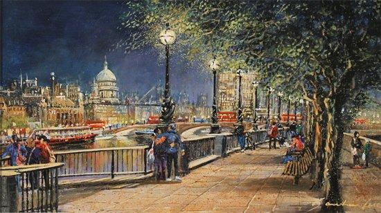 Gordon Lees, Original oil painting on panel, Queen's Walk, London