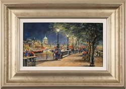 Gordon Lees, Queen's Walk, London, Original oil painting on panel