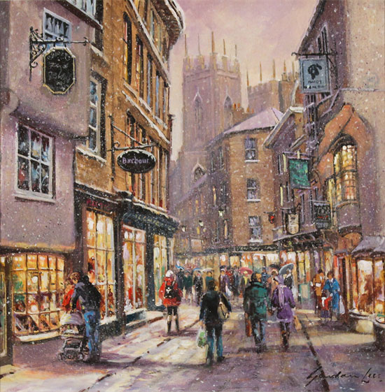 Gordon Lees, Original oil painting on panel, Snow on Low Petergate, York