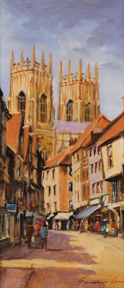 Gordon Lees, Original oil painting on panel, Low Petergate, York
