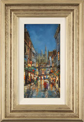 Gordon Lees, Original oil painting on panel, Evening Lights, Stonegate, York