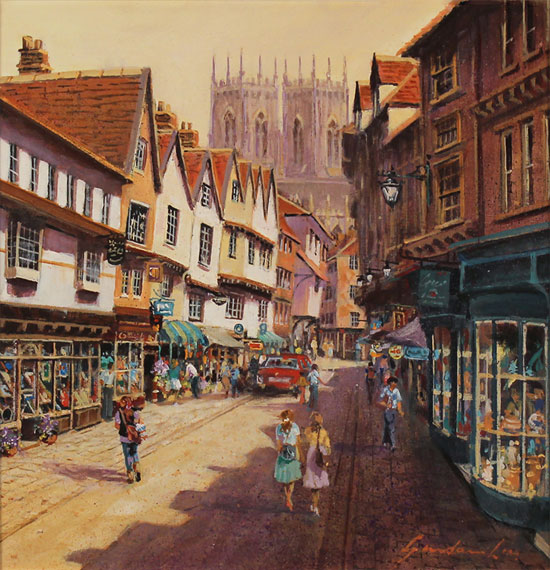 Gordon Lees, Original oil painting on panel, Low Petergate, York