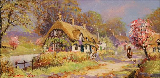Gordon Lees, Original oil painting on panel, Cherry Tree Lane