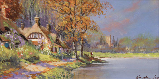 Gordon Lees, Original oil painting on panel, Waterside Cottage No frame image. Click to enlarge