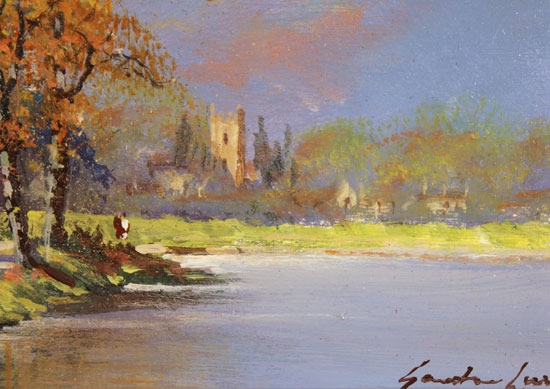Gordon Lees, Original oil painting on panel, Waterside Cottage Signature image. Click to enlarge