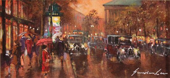 Gordon Lees, Original oil painting on panel, Streets of Paris