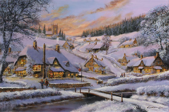 Gordon Lees, Original oil painting on panel, Winter's Eve, The Cotswolds Without frame image. Click to enlarge
