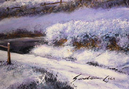 Gordon Lees, Original oil painting on panel, Winter's Eve, The Cotswolds Signature image. Click to enlarge