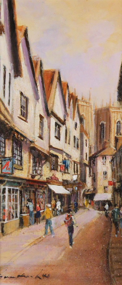 Gordon Lees, Original oil painting on panel, A Day Out in York No frame image. Click to enlarge