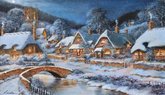 Gordon Lees, Original oil painting on panel, A Starry Cotswolds Eve