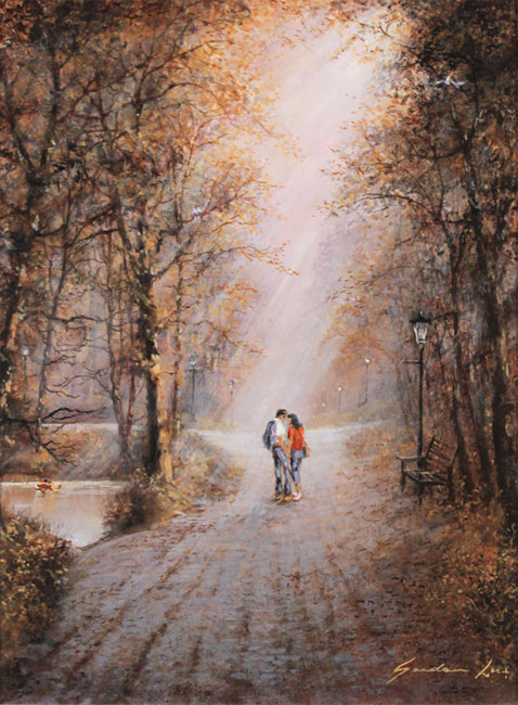 Gordon Lees, Original oil painting on panel, A Shared Moment No frame image. Click to enlarge