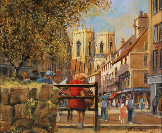 Gordon Lees, Original oil painting on panel, King's Square, York Without frame image. Click to enlarge