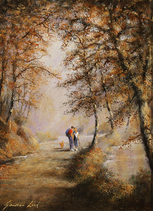 Gordon Lees, Original oil painting on panel, A Walk in the Woods