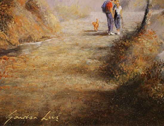 Gordon Lees, Original oil painting on panel, A Walk in the Woods Signature image. Click to enlarge
