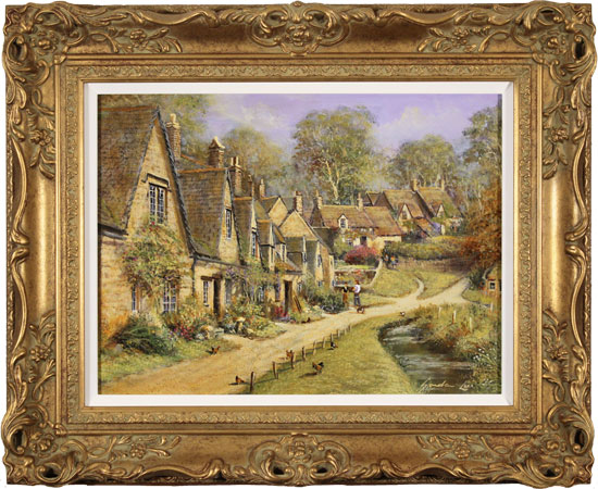 Gordon Lees, Original oil painting on panel, Arlington Row, The Cotswolds