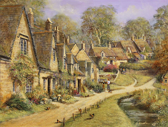 Gordon Lees, Original oil painting on panel, Arlington Row, The Cotswolds No frame image. Click to enlarge