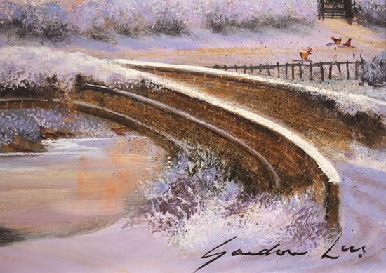 Gordon Lees, Original oil painting on panel, Soft Winter Glow, The Cotswolds Signature image. Click to enlarge