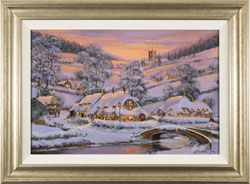 Gordon Lees, Original oil painting on panel, Soft Winter Glow, The Cotswolds Large image. Click to enlarge
