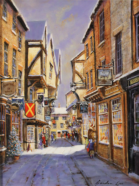 Gordon Lees, Original oil painting on panel, Snowfall on the Shambles Without frame image. Click to enlarge
