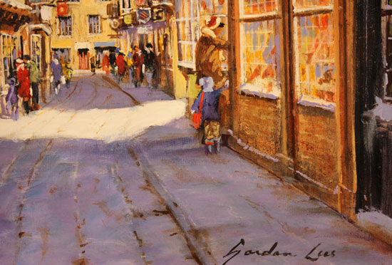 Gordon Lees, Original oil painting on panel, Snowfall on the Shambles Signature image. Click to enlarge