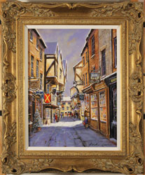 Gordon Lees, Original oil painting on panel, Snowfall on the Shambles Large image. Click to enlarge