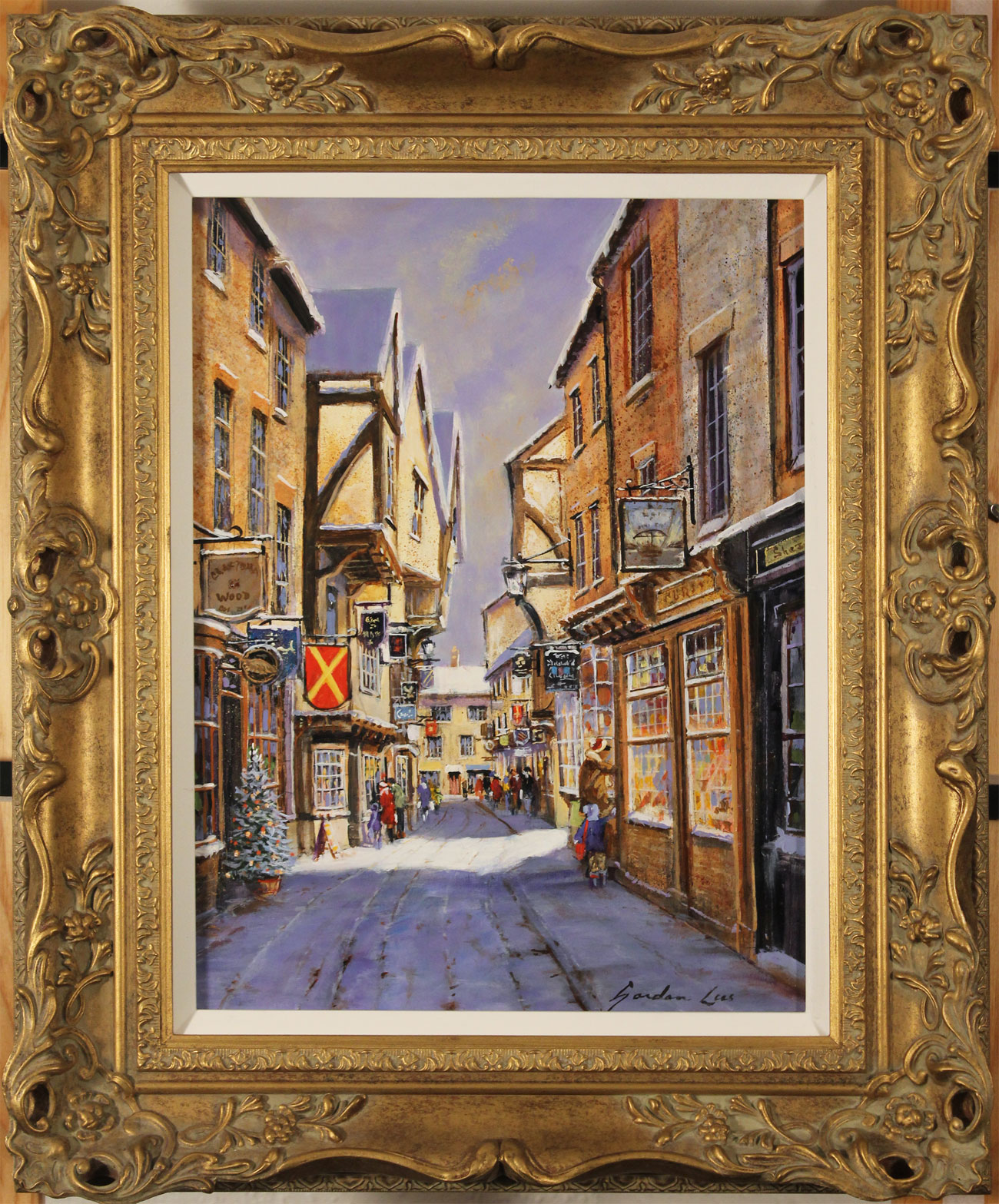 Gordon Lees, Original oil painting on panel, Snowfall on the Shambles. Click to enlarge