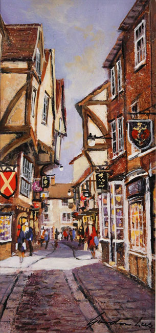 Gordon Lees, Original oil painting on panel, The Shambles, York Without frame image. Click to enlarge