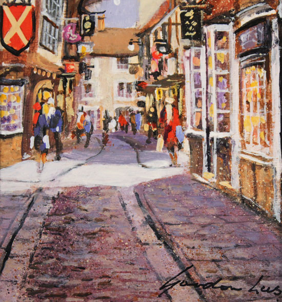 Gordon Lees, Original oil painting on panel, The Shambles, York Signature image. Click to enlarge