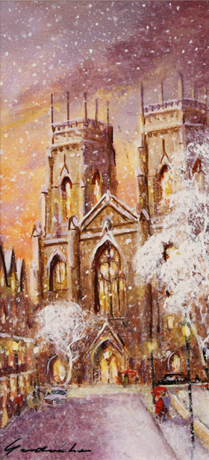 Gordon Lees, Original oil painting on panel, York Minster Without frame image. Click to enlarge