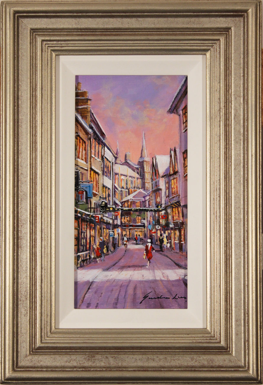 Gordon Lees, Original oil painting on panel, Stonegate, York, click to enlarge