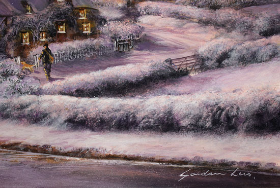 Gordon Lees, Original oil painting on panel, A Winter's Eve Signature image. Click to enlarge