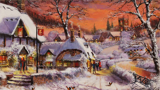 Gordon Lees, Original oil painting on panel, Cotswolds Village in Winter Without frame image. Click to enlarge