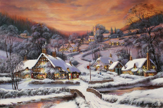 Gordon Lees, Original oil painting on canvas, A Winter's Eve, The Cotswolds