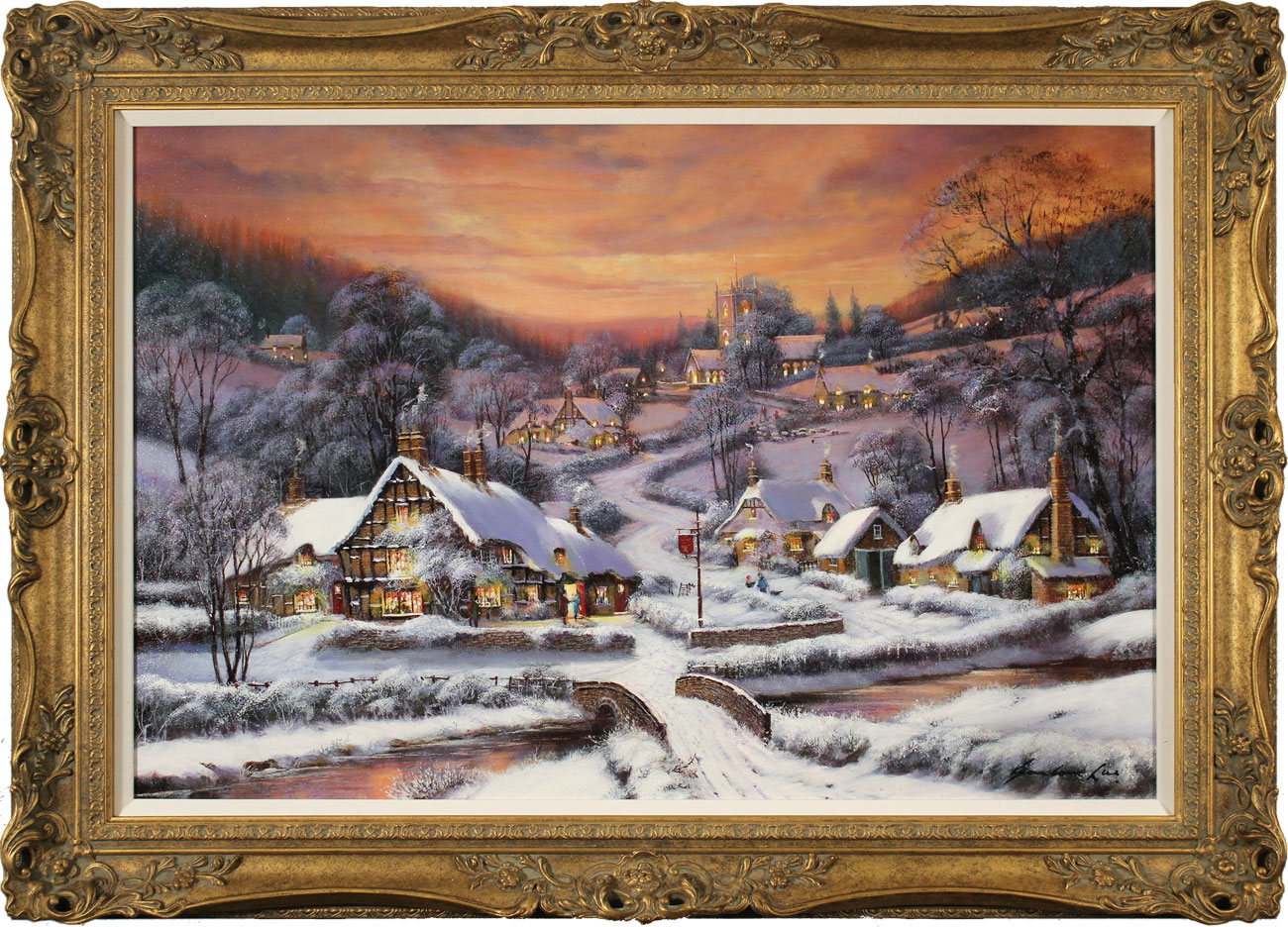 Gordon Lees, Original oil painting on canvas, A Winter's Eve, The Cotswolds, click to enlarge