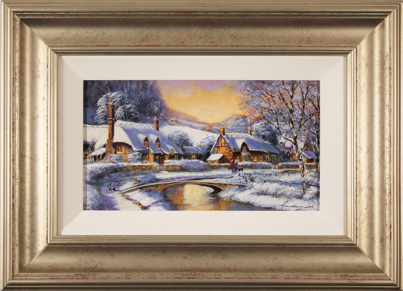 Gordon Lees, Original oil painting on panel, Cotswolds Village in Winter, click to enlarge