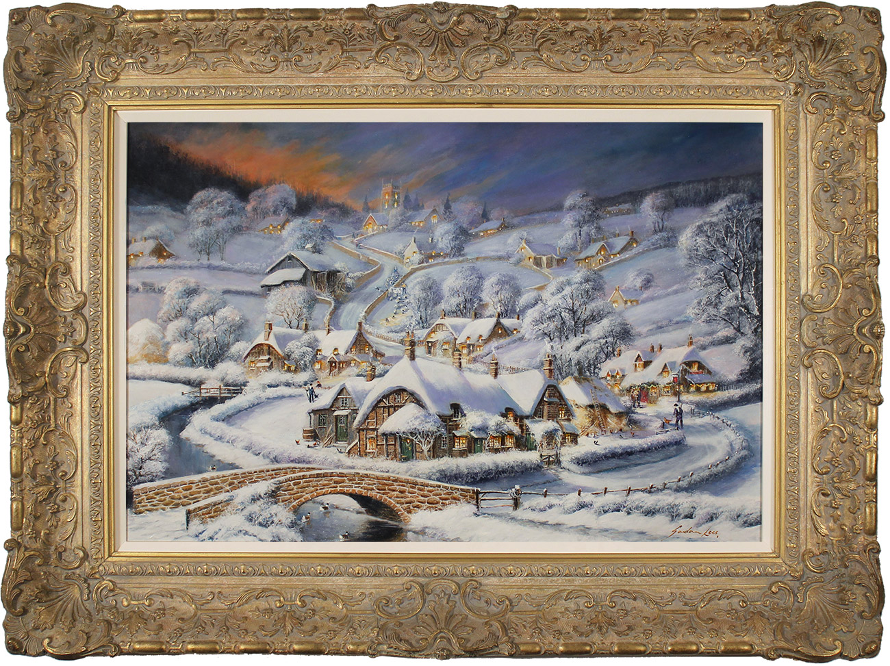 Gordon Lees, Original oil painting on panel, The Close of a Winter's Eve, click to enlarge