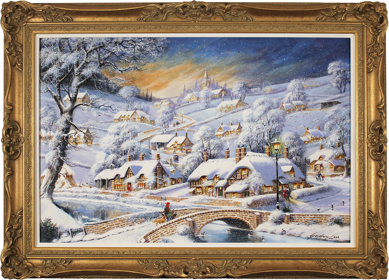 Gordon Lees, Original oil painting on panel, Snowfall and Starry Skies, click to enlarge