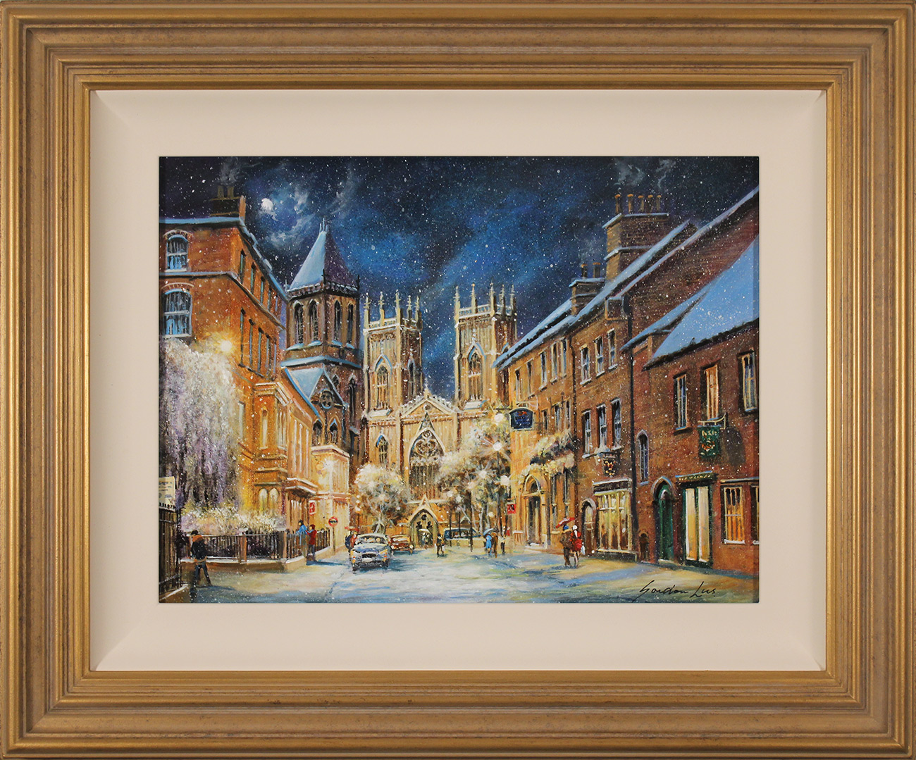 Gordon Lees, Original oil painting on panel, A Winter's Eve, York Minster , click to enlarge