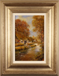 Gordon Lees, Original oil painting on panel, Upper Slaughter in Autumn, The Cotswolds