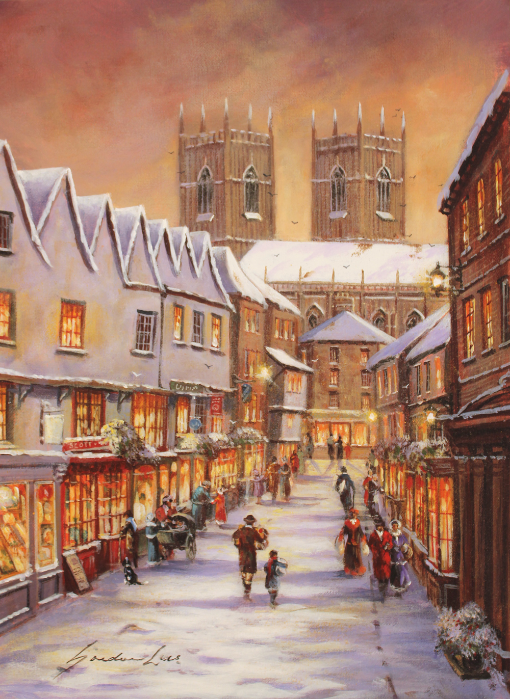 Gordon Lees, Signed limited edition print, Low Petergate, York. Click to enlarge