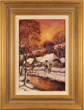 Gordon Lees, Original oil painting on panel, Winter in Upper Slaughter, The Cotswolds