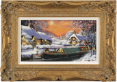 Gordon Lees, Original oil painting on panel, A Wintry Mooring on the River Avon