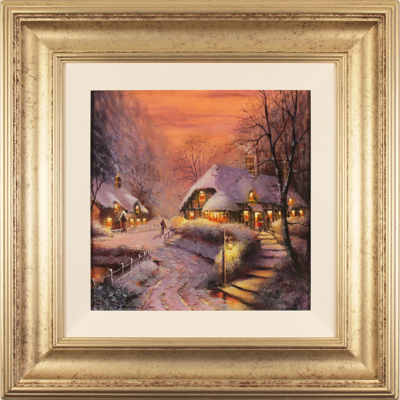 Gordon Lees, Original oil painting on panel, The Village Winter, click to enlarge