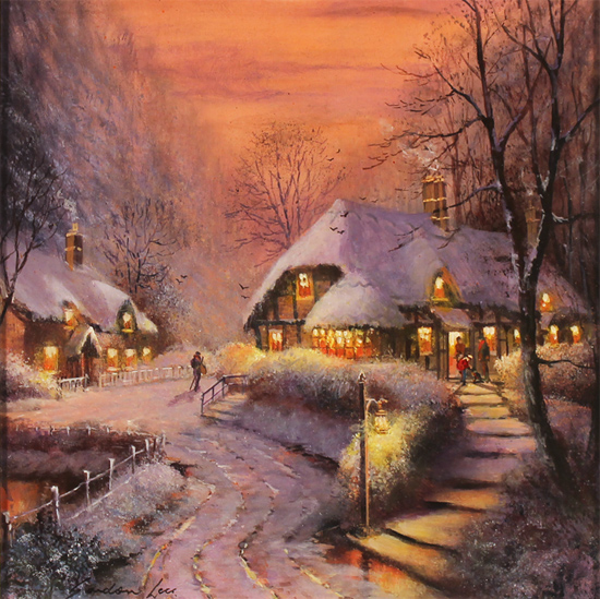 Gordon Lees, Original oil painting on panel, The Village Winter