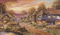 Gordon Lees, Original oil painting on canvas, Evening Glow, The Cotswolds