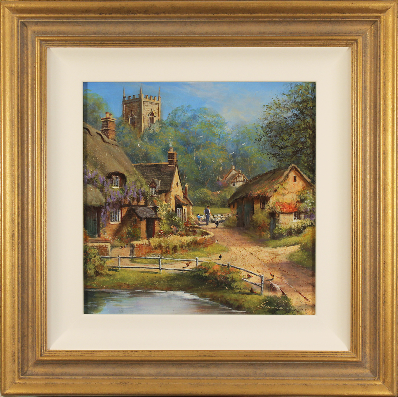 Gordon Lees, Original oil painting on panel, Cotswolds Village in Summer. Click to enlarge